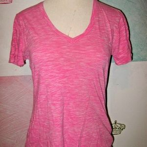 GAP Bright Pink White Heather Mix V Neck Top L